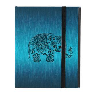 Capa iPad Elefante preto de Paisley & fundo azul metálico