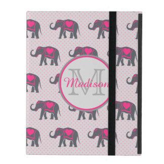 Capa iPad Elefantes cor-de-rosa quentes cinzentos em
