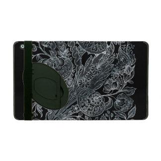 Capa iPad estilo floral de prata do embutimento