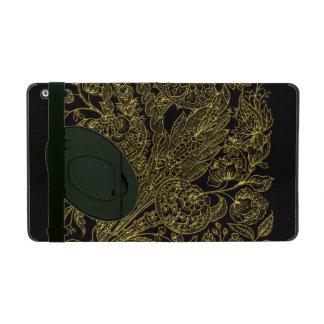 Capa iPad Estilo inlayed ouro floral