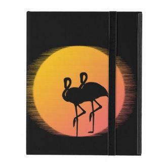 Capa iPad Flamingos do por do sol