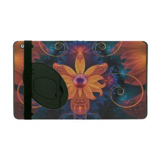 Capa iPad Flor Alaranjado-Azul bonita da orquídea do anjo do