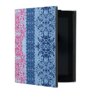 Capa iPad Flor de lis intrincada no rosa e no azul