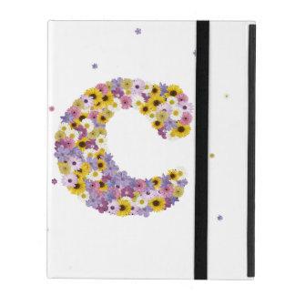 Capa iPad Letra inicial C nas flores