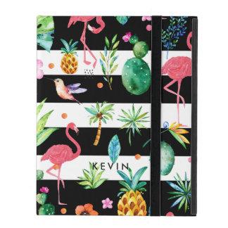 Capa iPad Listras pretas & flamingos coloridos do flor & os