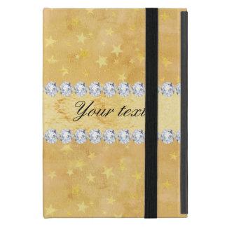 Capa iPad Mini A folha de ouro da aguarela Stars diamantes