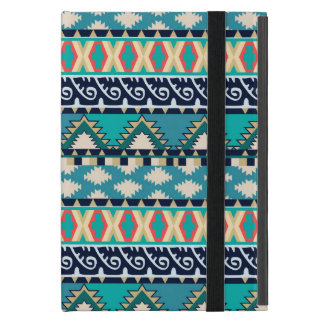 Capa iPad Mini A turquesa acena o teste padrão tribal com azul e