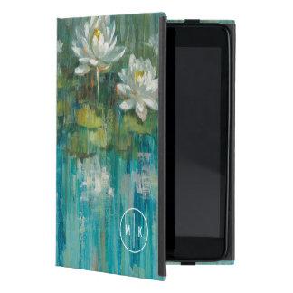 Capa iPad Mini Adicione sua lagoa do lírio de água do monograma |