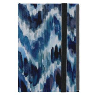 Capa iPad Mini Aguarela Chevron azul Ikat