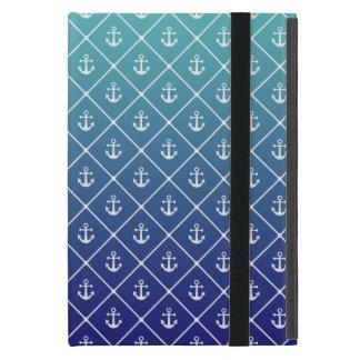 Capa iPad Mini Âncoras na cerceta do inclinação ao fundo azul