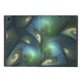 Capa iPad Mini Arte verde bege do Fractal de turquesa das