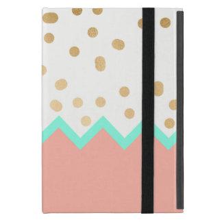 Capa iPad Mini bolinhas bonitos hortelã e rosa do ouro do falso