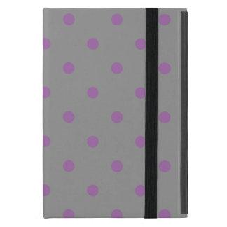 Capa iPad Mini bolinhas cinzentas roxas elegantes
