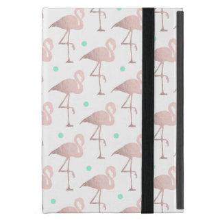 Capa iPad Mini bolinhas cor-de-rosa da hortelã dos flamingos do