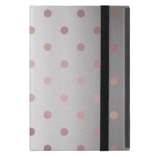 Capa iPad Mini bolinhas cor-de-rosa da prata do ouro do falso