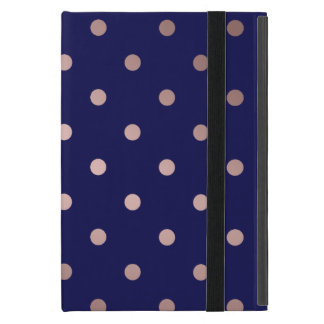 Capa iPad Mini bolinhas cor-de-rosa do azul do ouro do falso