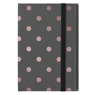 Capa iPad Mini bolinhas cor-de-rosa do cinza do ouro do falso