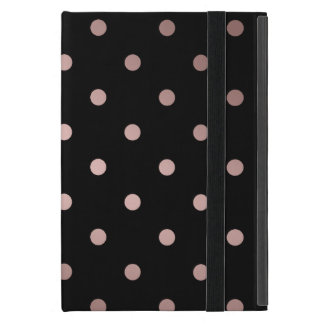 Capa iPad Mini bolinhas cor-de-rosa do preto do ouro do falso