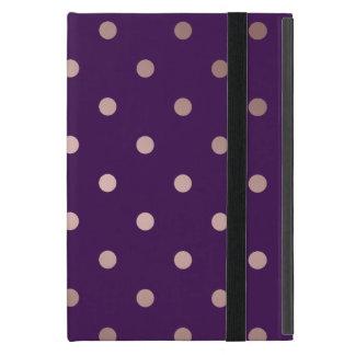 Capa iPad Mini bolinhas cor-de-rosa do roxo do ouro do falso