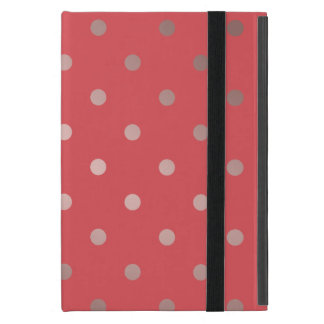 Capa iPad Mini bolinhas cor-de-rosa do vermelho do ouro do falso