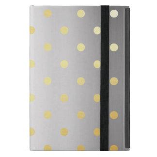 Capa iPad Mini bolinhas elegantes da prata do ouro do falso