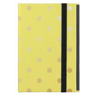 Capa iPad Mini bolinhas elegantes do amarelo do ouro do falso