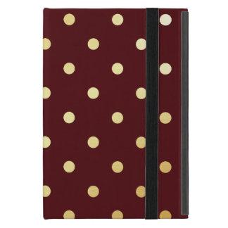 Capa iPad Mini bolinhas elegantes do marrom do ouro do falso