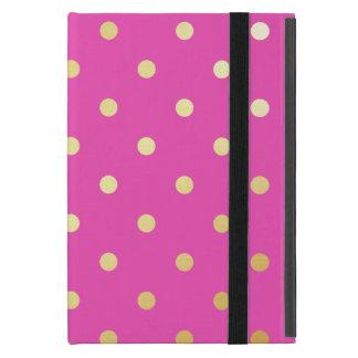 Capa iPad Mini bolinhas elegantes do rosa do ouro do falso