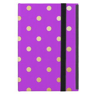 Capa iPad Mini bolinhas elegantes do roxo do ouro do falso