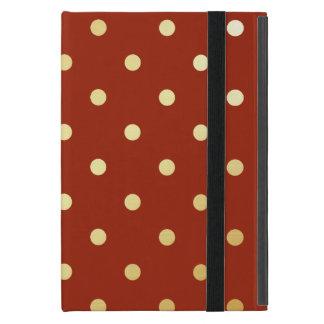 Capa iPad Mini bolinhas elegantes do vermelho do ouro do falso