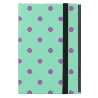 Capa iPad Mini bolinhas roxas elegantes da hortelã