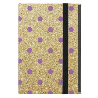 Capa iPad Mini bolinhas roxas elegantes do brilho do ouro do