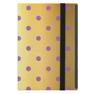 Capa iPad Mini bolinhas roxas elegantes do ouro do falso