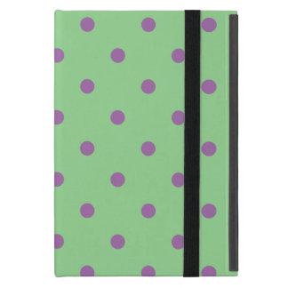 Capa iPad Mini bolinhas verdes roxas elegantes