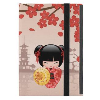Capa iPad Mini Boneca vermelha de Sakura Kokeshi - gueixa