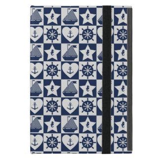 Capa iPad Mini Branco náutico dos azuis marinhos checkered