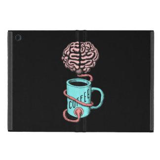 Capa iPad Mini Café para o cérebro. Ilustração engraçada do café