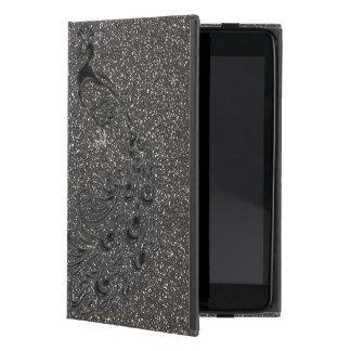 Capa iPad Mini Caso feminino elegante do iPad do pavão do preto