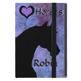 Capa iPad Mini Cavalos do coração II (roxos/azul)