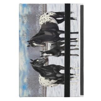 Capa iPad Mini Cavalos pretos do Appaloosa na neve
