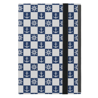 Capa iPad Mini Checkered branco azul náutico