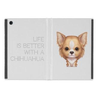 Capa iPad Mini Chihuahua bege e branca de cabelos compridos