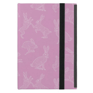 Capa iPad Mini Coelhos brancos bonitos no suporte cor-de-rosa de