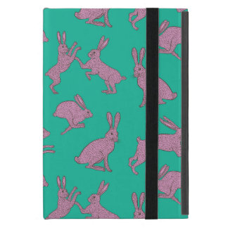 Capa iPad Mini Coelhos cor-de-rosa bonitos no suporte verde de