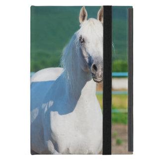 Capa iPad Mini coleção do cavalo. branco árabe
