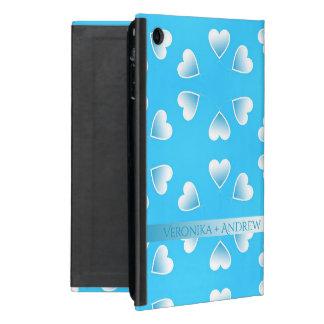 Capa iPad Mini Corações azuis pequenos bonito. Adicione seu