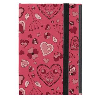 Capa iPad Mini Corações cor-de-rosa e caso do iPad das flores