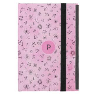 Capa iPad Mini Corações cor-de-rosa e estrelas da aguarela