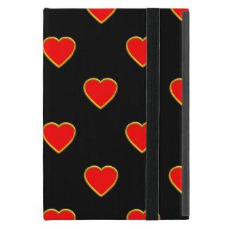Capa iPad Mini Corações vermelhos em um fundo preto