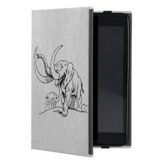 Capa iPad Mini Couro do falso de LGray & ilustração preta do